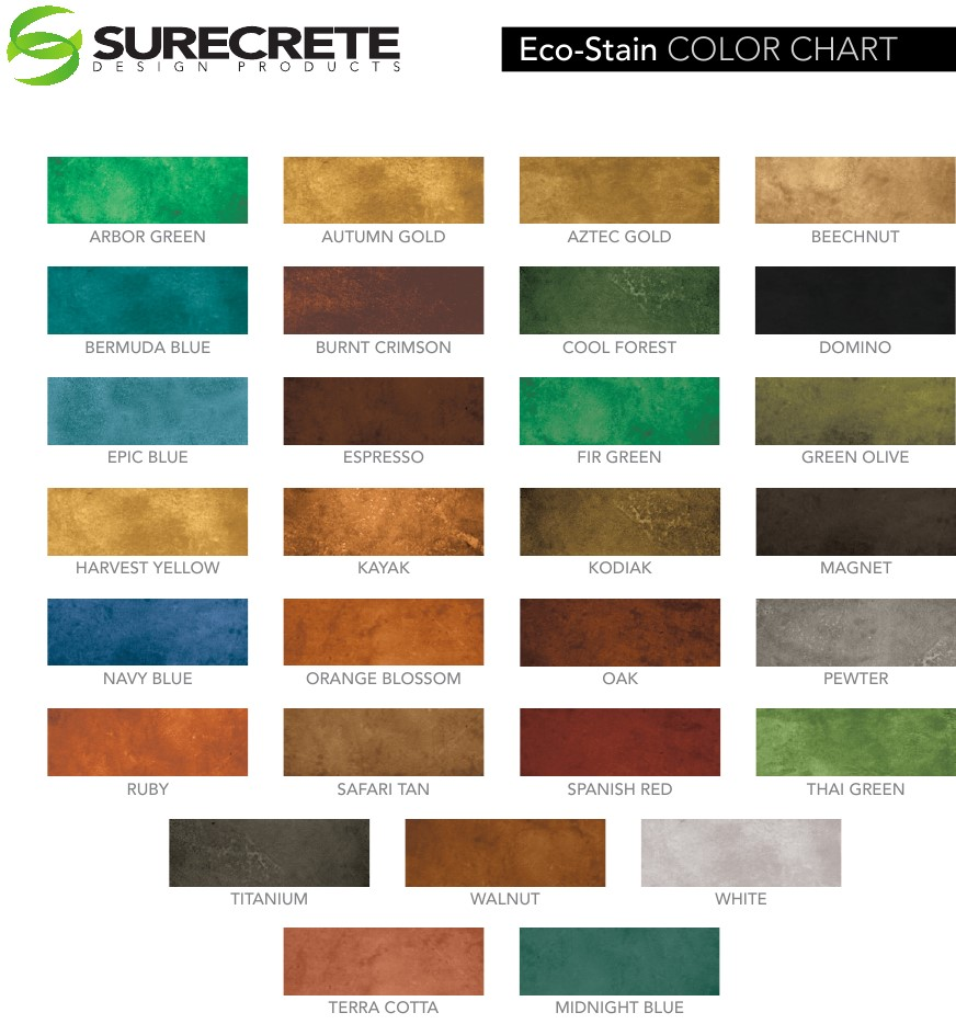 Concrete Stain Color Chart Eco Stain