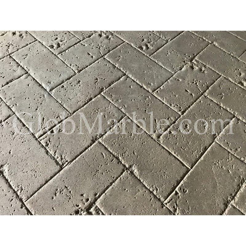 Concrete Stamp Mold SM 6100 Herringbone Tumbled Travertine Concrete Stamp