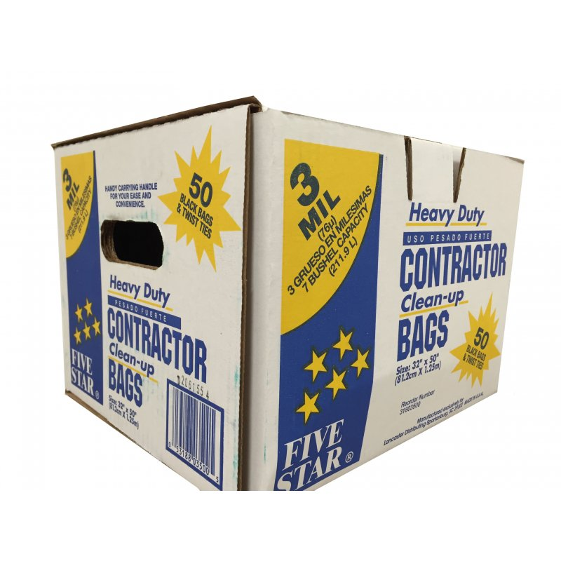Heavy Duty Contractor Trash Bags (42G/211.9L). 3mil